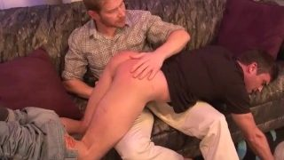 Hot step dad teaches stepson an ass spanking lesson
