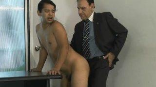 Latin son visiting his dad at work