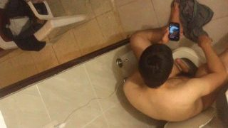 Spying on my cousin wanking in bathroom