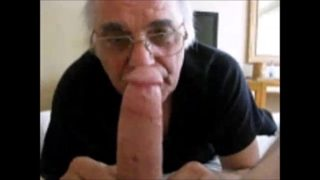 My grandpa loves sucking on my big thick dick